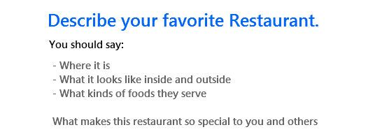 Cue Card - Describe your favorite restaurant
