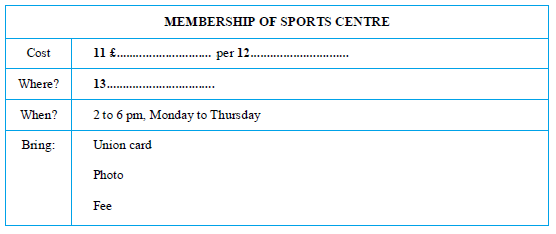 Membership of Sports Centre