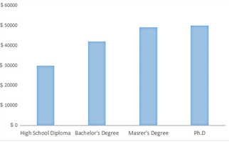 Bar Graph - Salaries earned by people with different levels of education
