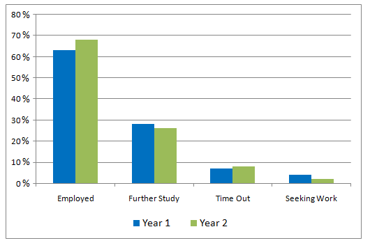 Bar Graph - What business graduates were doing