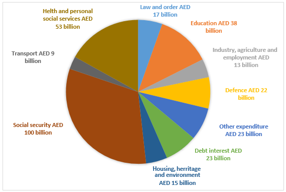 Budget on different sectors by the UAE government in 2000